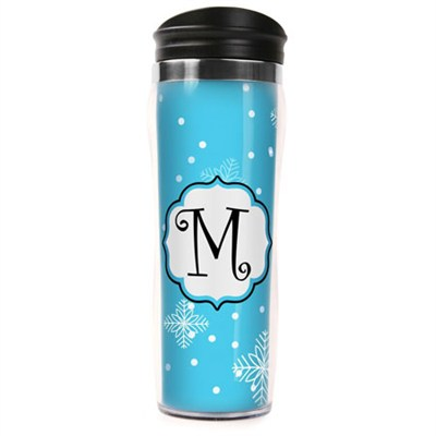 Letter `M` Travel Mug Tumbler (14oz) - Blue