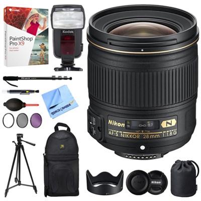 AF-S NIKKOR 28mm f/1.8G Lens + 18-180 Power Zoom Flash Bundle