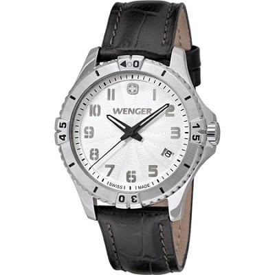 Ladies' Squadron Analog Watch - White Dial/Black Leather Strap
