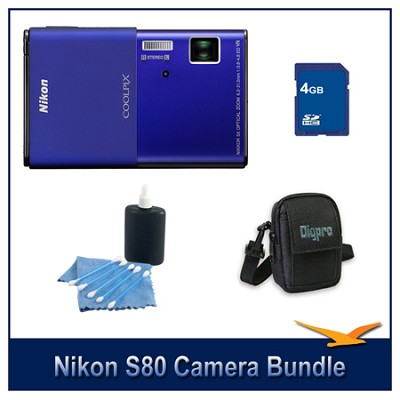 COOLPIX S80 Blue Camera 4GB Bundle w/ Case and Cleaning Kit