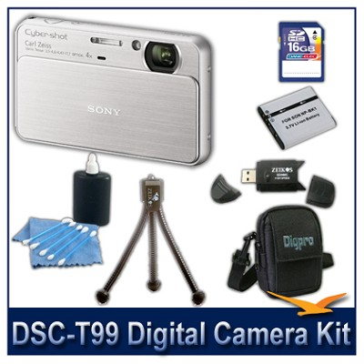DSC-T99 14MP Silver Touchscreen Digital Camera with 16GB Card, Case, and more