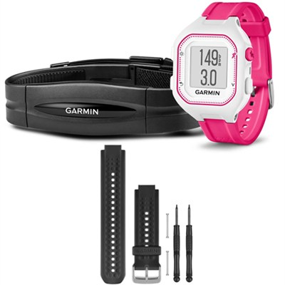 Forerunner 25 GPS Fitness Watch w/ Heart Rate Monitor Small Pink - Black Bundle