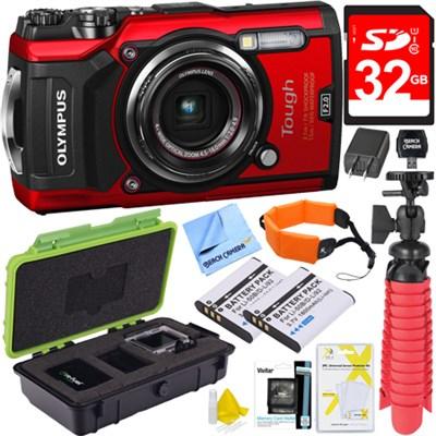 TG-5 12MP 4x Optical Zoom F2.0 Hi-Speed Lens Digital Camera Body Red 32GB Kit
