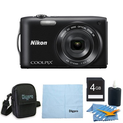 COOLPIX S3300 16MP 6x Opt Zoom 2.7 LCD 4GB Black Bundle