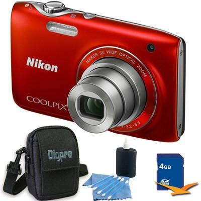 COOLPIX S3100 14MP Red Compact Digital Camera 4GB Bundle