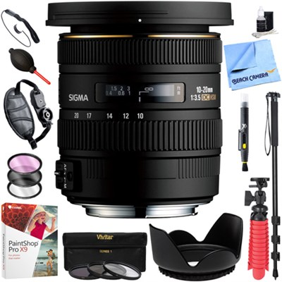 10-20mm f/3.5 EX DC HSM Wide Angle Lens for Nikon SLR Cameras Kit Deluxe Bundle