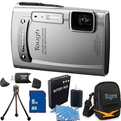 Tough TG-310 14 MP Water/Shock/Freezeproof Digital Camera 8GB Silver Kit