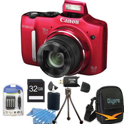 Powershot SX160 IS 16MP 16x Zoom Red Digital Camera 32GB Bundle