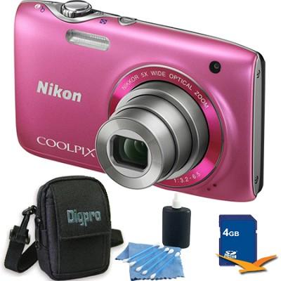 COOLPIX S3100 14MP Pink Compact Digital Camera 4GB Bundle