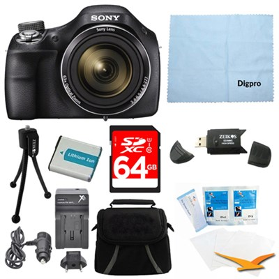DSC-H400/B 63x Optical Zoom 20.1MP HD Video Digital Camera Kit