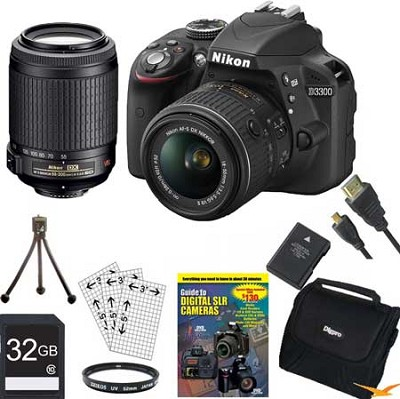D3300 DSLR 24.2 MP HD 1080p Camera with 18-55, 55-200VR Lens - Black Bundle