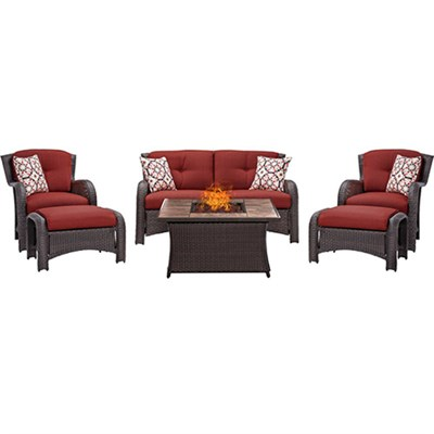 Strathmere 6-Piece Lounge Set in Crimson Red - STRATH6PCFP-RED-TN