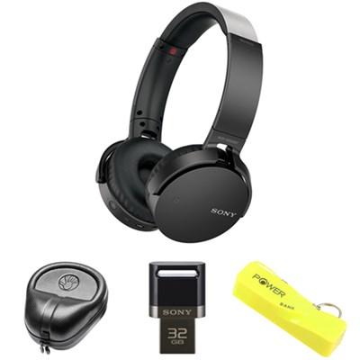 XB Series Wireless Bluetooth Headphone w/ Extra Bass-Black w/ Flash Drive Bundle