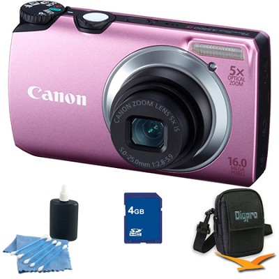 PowerShot A3300 IS 16MP Pink Digital Camera 4GB Bundle