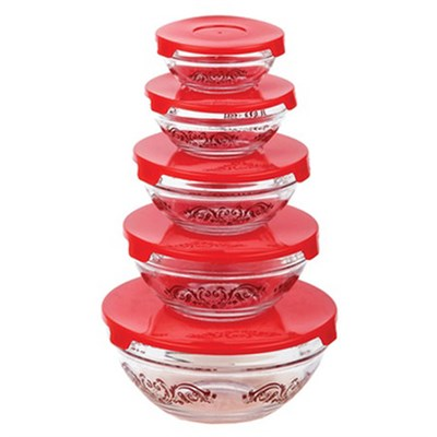 5 Glass bowl set with Lids Red SC10123