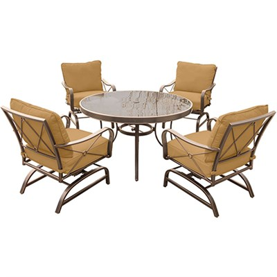 Summer Nights 5PC Dining Set: 4 Aluminum  Rockers with 48  Glass Table