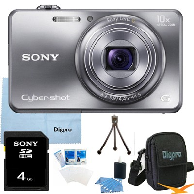 Cyber-shot DSC-WX150 18.2 MP 10x Optical HD Video Camera (Silver) 4GB Bundle