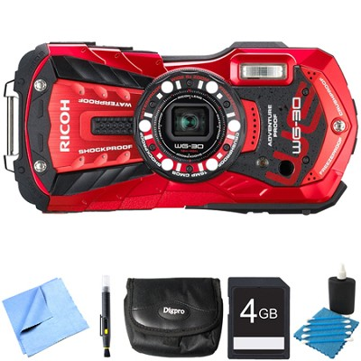 WG-30 16 MP Waterproof Digital Camera with 3-Inch LCD Vermillion Red 4GB Bundle