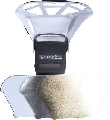Universal Soft Box Flash Diffuser + interchangeable white, gold & silver inserts