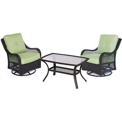 Orleans 3 Piece Patio Chat Set in Avocado Green - ORLEANS3PCSWCT-B-GRN
