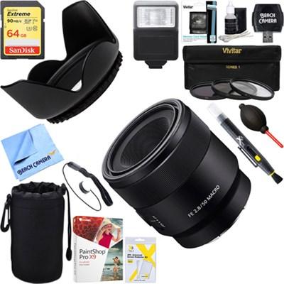 FE 50mm F2.8 Full Frame E-Mount Macro Lens + 64GB Ultimate Kit