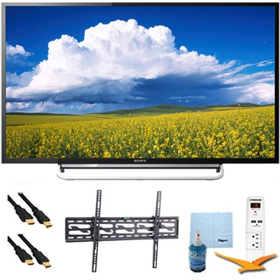 KDL48W600B - 48` LED HD 1080p Smart TV 60Hz Tilt Mount & HookUp Bundle