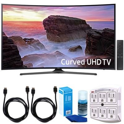 Curved 65` 4K Ultra HD Smart LED TV (2017 Model) w/ Accessories Bundle