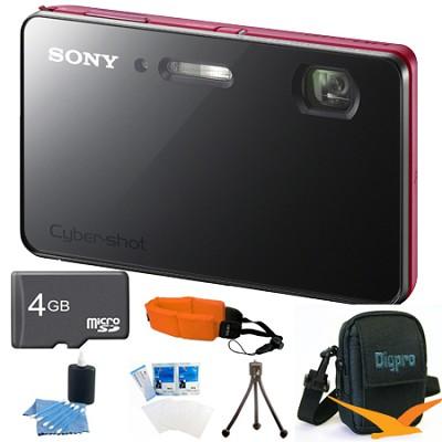 DSC-TX200V/R - 18.2 MP  Digital Camera Waterproof 3.3` OLED (Red) Value Bundle