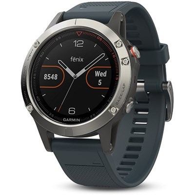 Fenix 5 Multisport 47mm GPS Watch - Silver with Granite Blue Band