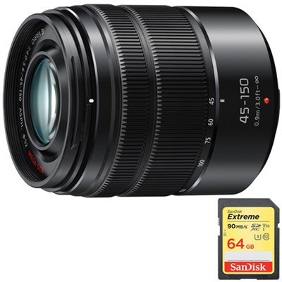 LUMIX G VARIO 45-150 mm Black Lens with Matte Finish w/ 64GB Memory Card