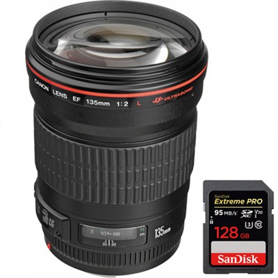 135mm f/2.0L USM Telephoto Lens for Canon DSLR + SDXC 128GB Memory Card