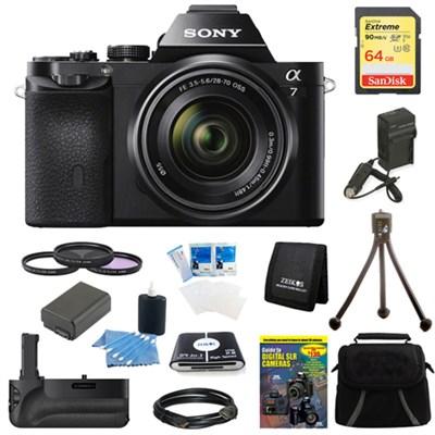 Alpha 7K a7K Digital Camera 64 GB SDXC Card, Filter Kit, and Battery Grip Bundle
