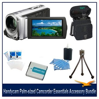 Handycam DCR-SX44 Palm-sized Silver Camcorder Essentials Accessory Bundle