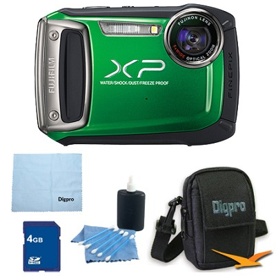 Finepix XP100 14MP CMOS Digital Camera 4 GB Bundle (Green)