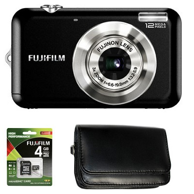FINEPIX JV100 12 MP Digital Camera Bonus Bundle - Black