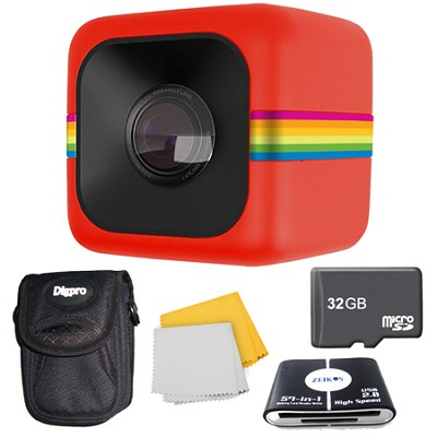 POLC3 Cube HD Digital Video Action Camera 32GB Accessory Bundle (Red)