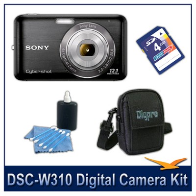 DSC-W310 Digital Camera (Black) with 4GB Card, Case, and More