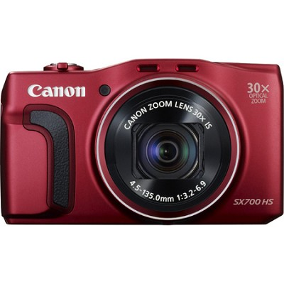 PowerShot SX700 HS 16.1MP HD 1080p Digital Camera - Red