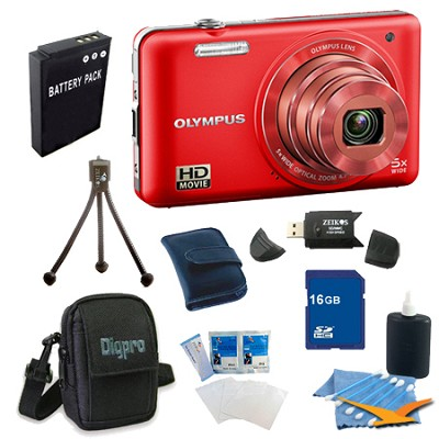 16 GB Kit VG-160 14MP 5x Opt Zoom Red Digital Camera - Red