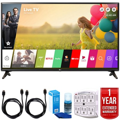 49LJ550M 49` Class (48.5` Diag) Full HD 1080p Smart LED TV w/ Warranty Bundle