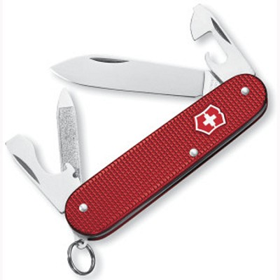 Cadet Swiss Army Knife, Red Alox, Ribbed  - 53043