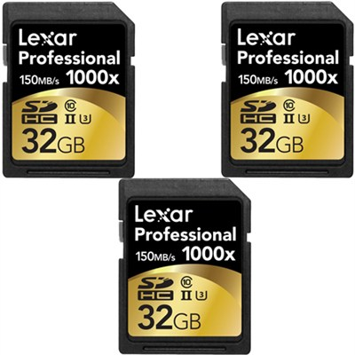 32GB Professional 1000x SDHC Class 10 UHS-II Memory Card 3-Pack Bundle