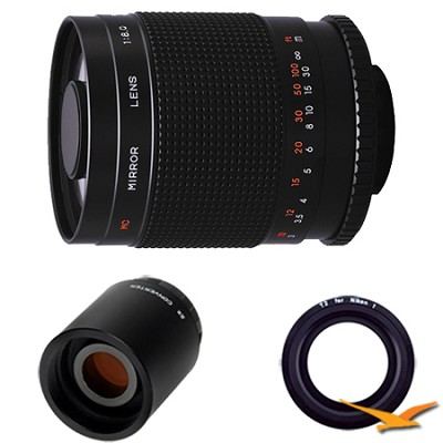 500M - 500mm f/8.0 Mirror Lens for Nikon 1 with 2x Multiplier