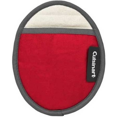 Cotton Oval Pot Holder with Silicone- Red