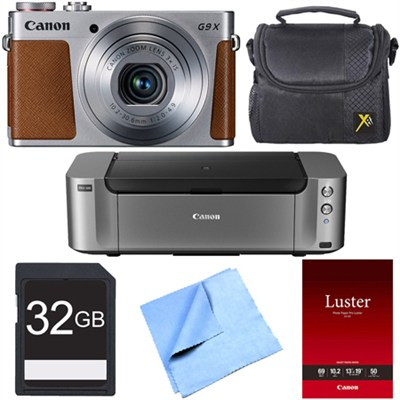 PowerShot G9 X Silver Digital Camera Canon PIXMA PRO-100 Printer Bundle