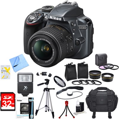 D3300 DSLR 24.2 MP HD 1080p Camera with 18-55mm VR Lens Ultimate Bundle (Grey)