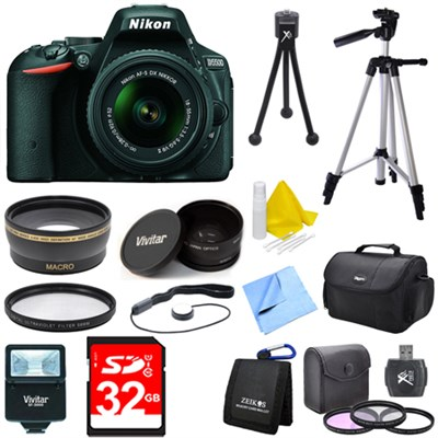 D5500 Black DSLR Camera 18-55mm Lens, Wide Lens, Converter, and Flash Bundle