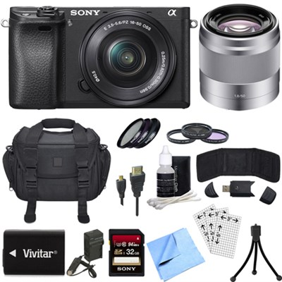 ILCE-6300 a6300 4K Mirrorless Camera w/16-50mm Zoom + 50mm Telephoto Lens Bundle