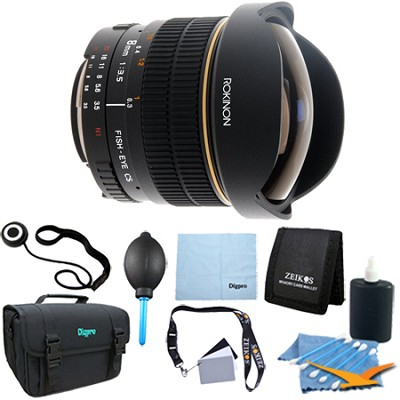 8mm f/3.5 Aspherical Fisheye Lens for Canon DSLR Cameras - Lens Kit Bundle