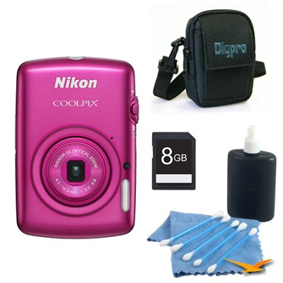 COOLPIX S01 10.1MP 2.5-inch Touch Screen Pink Digital Camera Kit